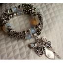 Bracelet 2 rangs blanc opale