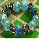 Bracelet 2 rangs Millefiori Aigue-marine