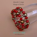 Bracelet 2 rangs Rouge et bronze