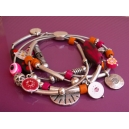 Bracelet 5 rangs Fuchsia Orange