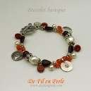 Bracelet baroque grenat/orange