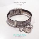 Bracelet cuir argent 4 rangs