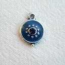 Breloque 12mm strassée Bleu foncé