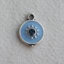 Breloque 12mm strassée, Bleu saphir clair