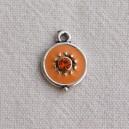 Breloque 12mm strassée Orange