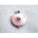 Breloque 12mm strassée Rose pale