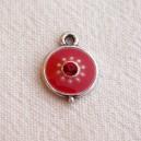 Breloque 12mm strassée Rouge