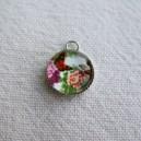 Breloque loupe 10mm Papillon et fleurs