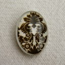 Cabochon 18x13 arabesque marron