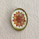 Cabochon 18x13 Feur Orange et Rose