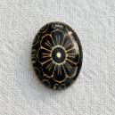 Cabochon 18x13 Noir, Fleur beige