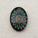 Cabochon 18x13 Turquoise-Rouge