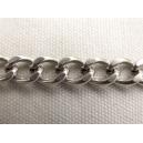 Chaine ovale plate 9x7 Argentée - 50cm
