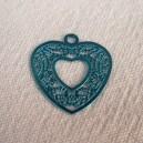 Coeur filigrané 15mm Bleu Capri.