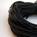 Cordon en caoutchouc 3mm (creux) Noir - 1 mètre.