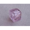 Cube 6x6 feuille argent Rose - fil de 60 perles