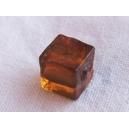 Cube 6x6 feuille argent Topaze - fil de 60 perles