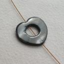 Donut percé coeur 20mm Gris
