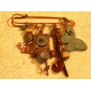 Epingle broche Cuivre avec perles de céramique Turquoise