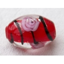 Olive 15x10 Rouge rayée - fil de 25 perles