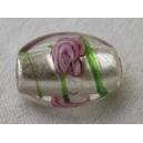 Olive feuille argent 15x10 Cristal rayée - fil de 25 perles