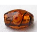 Olive feuille argent 15x10 Topaze rayée - fil de 25 perle