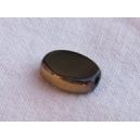 Olive plate 10x6 Noir bordée doré - fil de 37 perles
