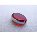 Olive plate 10x6 Rouge bordée argent - fil de 33 perles.