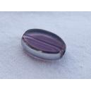 Olive plate 12x7 Améthyste claire bordée argent - fil de 27 perl