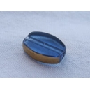 Olive plate 12x7 Bleu saphir bordée or - fil de 27 perles