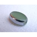 Olive plate 12x7 Vert érinite opale bordée argent - fil de 27 pe