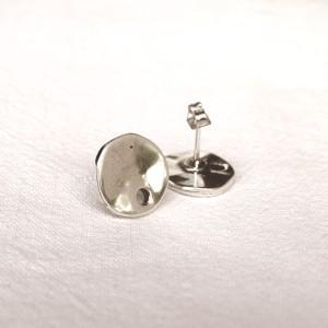 Paire de clous d'oreilles lisses 13mm Argent