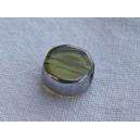 Pastille 7mm Olivine bordée argent - fil de 43 perles