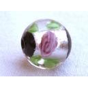 Perle 11mm feuille argent  Noir et argent - fil de 33 perles