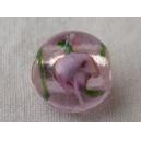 Perle 11mm feuille argent Rose clair rayée vert - fil de 33 perl