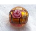 Perle 11mm feuille argent Topaze rayée noir - fil de 33 perles