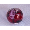 Perle 11mm Rouge rayée noir - fil de 33 perles