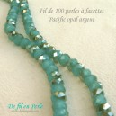 Perle à facettes 4x6 Pacific opal/argent