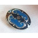 Perle émaillée 18x14 Beu navy et Bleu roi