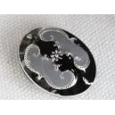 Perle émaillée 18x14 Noir et Gris