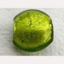 Perle en pâte de verre feuille argent ronde plate 15mm Vert Anis