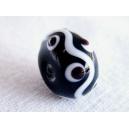 Perle intercalaire 14x9 Noir et Blanc