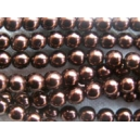 perle nacrée 4mm Chocolat fil de 120