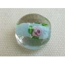 Perle ronde plate 14mm Bleu ciel/cristal