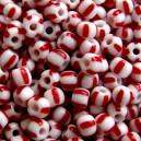 Rocaille rayé rouge et blanc 5mm