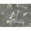 Rocaille tube torsadé 1.5x7 cristal irisé