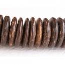 Rondelle coco 15mm Brun tigré - Fil de 40cm
